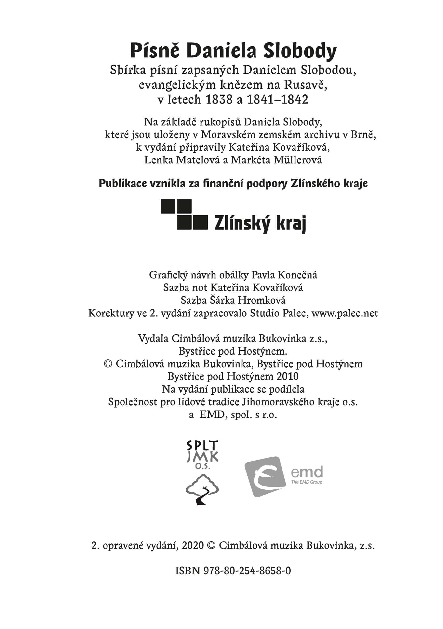 Písně Daniela Slobody (publikace v PDF)